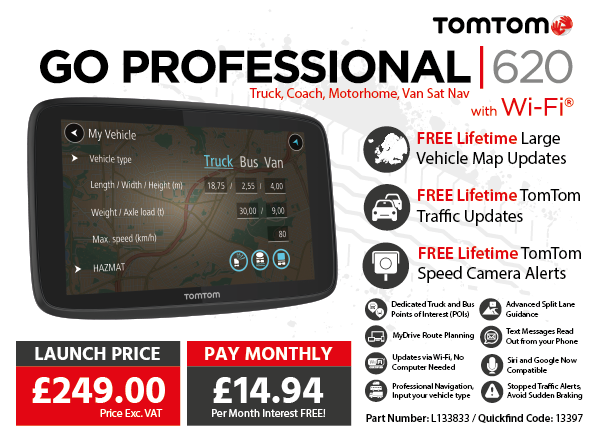 TomTom GO PROFESSIONAL 620 Truck, Bus, Van Sat Nav with Wi-Fi