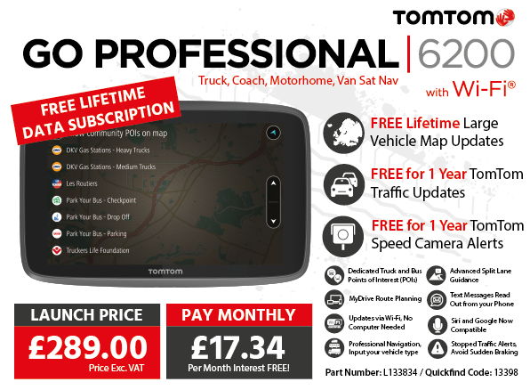 TomTom GO PROFESSIONAL 6200 Truck, Bus, Van Sat Nav with Wi-Fi