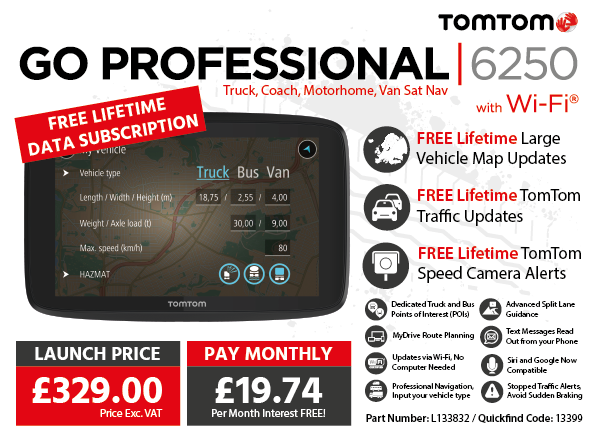 TomTom GO PROFESSIONAL 6250 Truck, Bus, Van Sat Nav with Wi-Fi